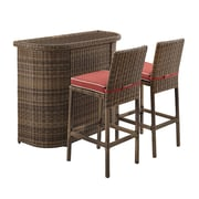 Crosley Bradenton 3 Piece Outdoor Wicker Bar Set - Bar & Two Stools With Sangria Cushions (KO70045WB-SG)