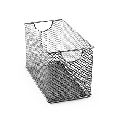 Design Ideas Mesh Stacking Bin, 6.3 H x 11 D x 5.7 W in., Silver (34289)
