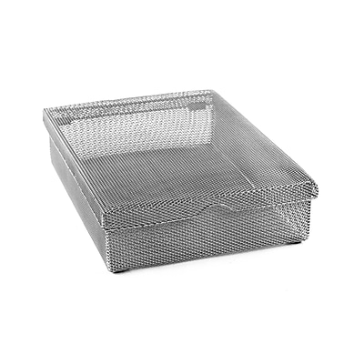 Design Ideas Mesh Hinged Paper Box, Silver (353039)
