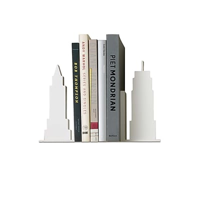 Design Ideas Skyline Bookends, Set of 2, White (3300311)