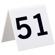"Alpine Industries 3""x3"" 25 Piece Acrylic Tent Style Table Numbers, Numbered 51 Through 75 (493-51-75)"