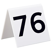 """Alpine Industries Numbers 76-100 3"""" x 3"""" White Acrylic Table Tent, 25/Pack (493-76-100)"""
