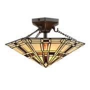 Satco Lighting 2 Light Dark Bronze Semi-Flush Mount With Tiffany Shade (STL-LTR497202)