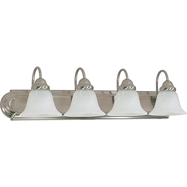 Satco Lighting 4 Light Brushed Nickel Bath Vanity with Alabaster Glass Shades (STL-SAT603228)