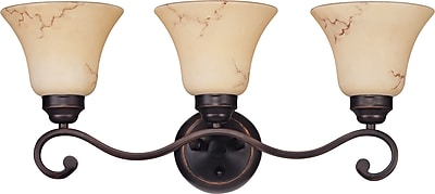 Satco Lighting 3 Light Copper Espresso Bath Vanity with Honey Marble Glass Shades (STL-SAT614149)
