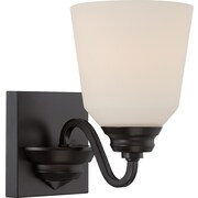 Satco Lighting 1 Light Mahogany Bronze Bath Vanity with Satin White Glass Shade (STL-SAT323768)