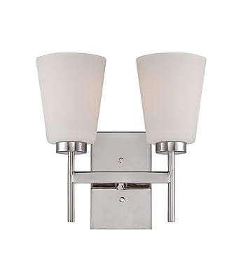 Satco Lighting 2 Light Polished Nickel Bath Vanity with Satin White Glass Shades (STL-SAT652127)
