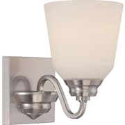 Satco Lighting 1 Light Brushed Nickel Bath Vanity with Satin White Glass Shade (STL-SAT323669)