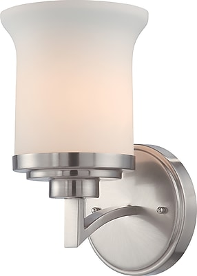 Satco Lighting 1 Light Brushed Nickel Bath Vanity with Satin White Glass Shade (STL-SAT641015)
