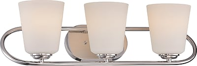 Satco Lighting 3 Light Polished Nickel Bath Vanity with Satin White Glass Shades (STL-SAT324086)