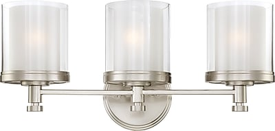 Satco Lighting 3 Light Brushed Nickel Bath Vanity with Clear Outer / Frosted Inner Glass Shades (STL-SAT646430)