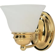 Satco Lighting 1 Light Polished Brass Bath Vanity with Alabaster Glass Shade (STL-SAT603488)