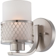 Satco Lighting 1 Light Brushed Nickel Bath Vanity with Frosted Glass Shade (STL-SAT646812)