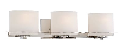 Satco Lighting 3 Light Polished Nickel Bath Vanity with Etched Opal Glass Shades (STL-SAT651038)