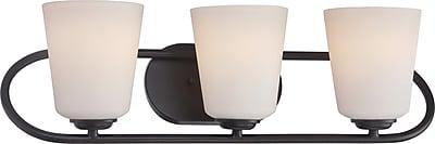 Satco Lighting 3 Light Mahogany Bronze Bath Vanity with Satin White Glass Shades (STL-SAT324185)