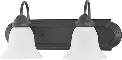 Satco Lighting 2 Light Mahogany Bronze Bath Vanity with Frosted White Glass Shades (STL-SAT631610)