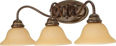 Satco Lighting 3 Light Sonoma Bronze Bath Vanity with Champagne Linen Shades (STL-SAT610356)