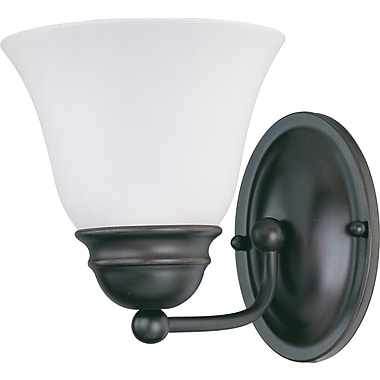 Satco Lighting 1 Light Mahogany Bronze Bath Vanity with Frosted White Glass Shade (STL-SAT631658)