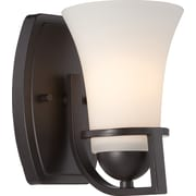 Satco Lighting 1 Light Sudbury Bronze Bath Vanity with Satin White Glass Shade (STL-SAT655814)