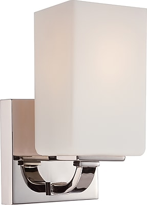 Satco Lighting 1 Light Polished Nickel Bath Vanity with Etched Opal Glass Shade (STL-SAT651816)