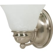 Satco Lighting 1 Light Brushed Nickel Bath Vanity with Alabaster Glass Shade (STL-SAT603402)