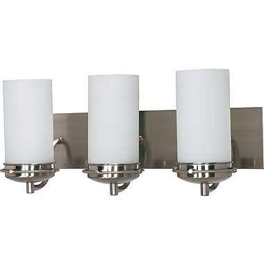 Satco Lighting 3 Light Brushed Nickel Bath Vanity with Opal White Glass Shades (STL-SAT604966)