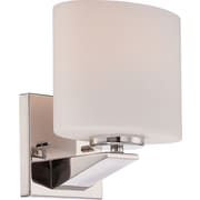 Satco Lighting 1 Light Polished Nickel Bath Vanity with Etched Opal Glass Shade (STL-SAT651717)