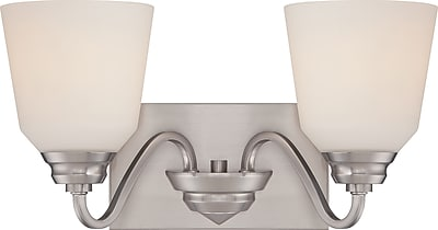 Satco Lighting 2 Light Brushed Nickel Bath Vanity with Satin White Glass Shades (STL-SAT323676)