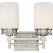 Satco Lighting 2 Light Brushed Nickel Bath Vanity with Satin White Glass Shades (STL-SAT647024)