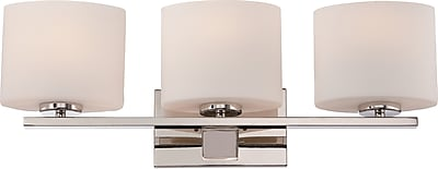 Satco Lighting 3 Light Polished Nickel Bath Vanity with Etched Opal Glass Shades (STL-SAT651731)