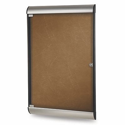 Ghent Silhouette 4' H x 2' W Enclosed Fabric Bulletin Board with Satin Frame, 1 Door, Camel (SILH20402)