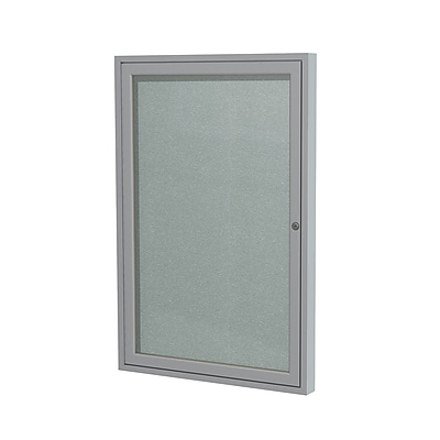 Ghent 3' H x 2' W Enclosed Vinyl Bulletin Board with Satin Frame, 1 Door, Silver (PA13624VX-193)