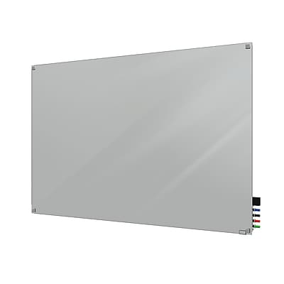 Ghent Harmony 3'H x 4'W Magnetic Glass Whiteboard with Square Corners, Gray (HMYSM34GY)