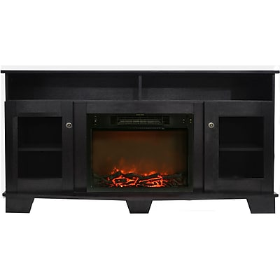 Cambridge Savona 59 In. Electric Fireplace in Black Coffee with Entertainment Stand and Charred Log Display (CAM6022-1COF)
