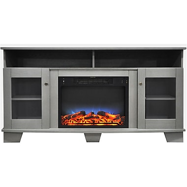 Cambridge Savona 59 In. Electric Fireplace in Gray with Entertainment Stand and Multi-Color LED Flame Display (CAM6022-1GRYLED)