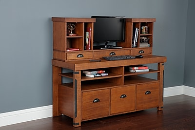 American Furniture Classics Model 33232K Industrial Collection Credenza Console and Hutch Bundle
