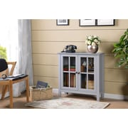 OS Home and Office Furniture Dark Gray Glass Door Accent and Display Cabinet