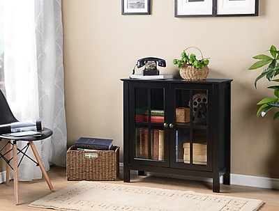 OS Home and Office Furniture Model 22601 Black Glass Door Accent and Display Cabinet