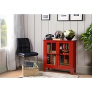 OS Home and Office Furniture Red Glass Door Accent and Display Cabinet