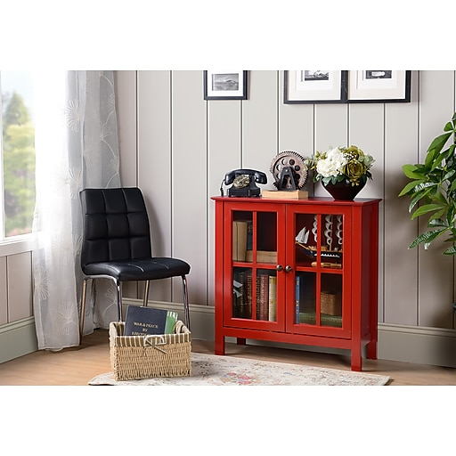 Os Home And Office Furniture Red Gl Door Accent Display Cabinet