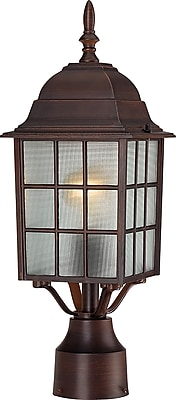 Satco Lighting 1-Light Rustic Bronze Post Mount with Frosted Glass Shade (STL-SAT649080)