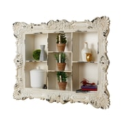 AdirHome Multiple Sectioned Wall Shelf with Rustic Design, White (510-10)