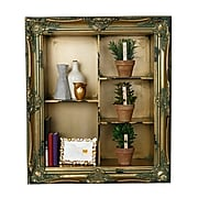 AdirHome Antique Wall Shelf with 5 Multi-level Sections, Gold (510-02)