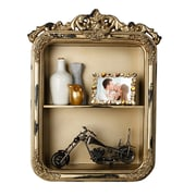 AdirHome Double Section Wall Shelf with Royal Design, Gold (510-08)