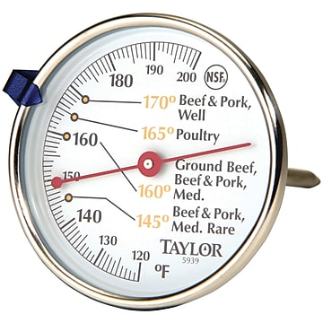 Taylor Precision Products Meat Dial Thermometer (5939N),Size: large