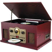 Sylvania Nostalgia 5-in-1 Turntable/CD/Radio/Cassette Player with Auxiliary Input (SRCD838)