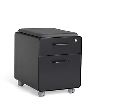 Poppin Black Mini Stow 2-Drawer Vertical File Cabinet, Rolling, Black (104730)