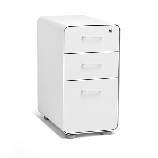 a974a7bd6b4 Poppin White Slim Stow 3-Drawer Vertical File Cabinet
