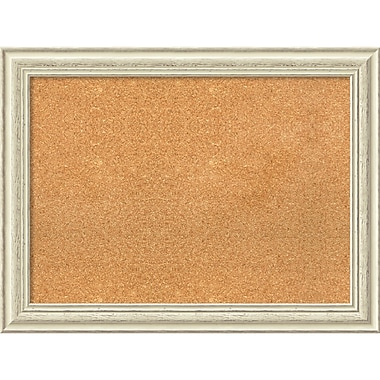 amanti art framed cork board large country white wash 33 x 25 frame white dsw3979328 - White Framed Cork Board