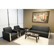 Vangoddy EuroStyle Sofa with Chrome Accent, Black, Set of 3 (FURSOF001)